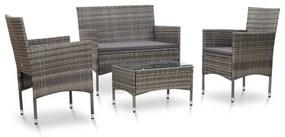 45812 vidaXL 4 pcs conjunto lounge de jardim c/ almofadões vime PE cinzento