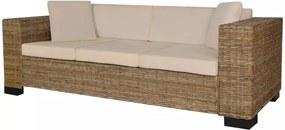 Conjunto de sofás de 3 lugares, 8 pcs, vime genuíno