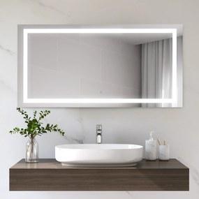 Kleankin Espelho de banheiro com luz LED 120x60 cm Espelho de parede com interruptor de toque vertical ou horizontal de alumínio prata
