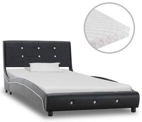 277574 vidaXL Cama com colchão 90x200 cm couro artificial preto