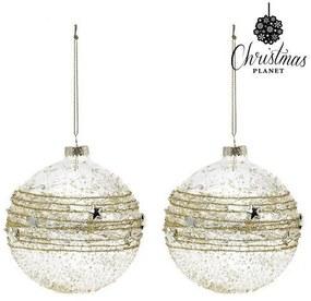 Bolas de Natal 10 cm (2 uds) Cristal Dourado
