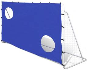 90573 vidaXL Baliza de futebol com Tela de Pontaria, de Aço, 240 x 92 x 150 cm