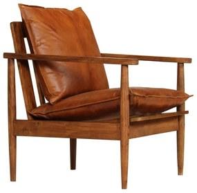 246480 vidaXL Poltrona em couro genuíno com madeira de acácia castanho