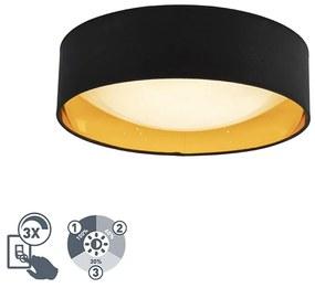 Candeeiro de teto design preto com ouro 40 cm incl. LED - Drum Combi Design