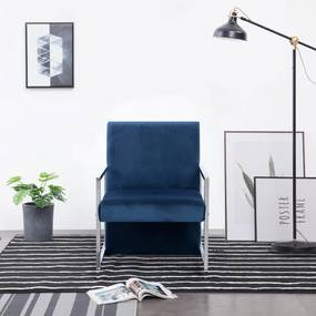 282160 vidaXL Poltrona com pés cromados veludo azul