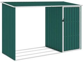 46293 vidaXL Abrigo de lenha para jardim 245x98x159 cm aço galvanizado verde
