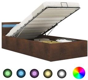 285564 vidaXL Cama hidráulica c/ arrumação e LED 90x200 cm tecido castanho