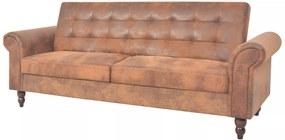 Sofá-cama conversível c/ apoio braços camurça artific. castanho