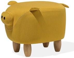 Tamborete em tecido amarelo  PIGGY