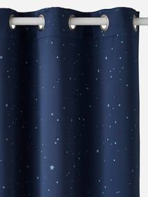 Cortinado opaco fosforescente azul escuro estampado