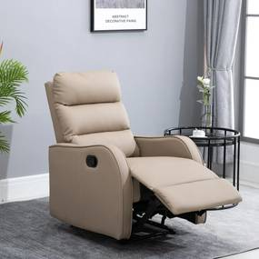 HOMCOM Poltrona Relax com reclinação manual até 160 ° com apoio para os pés retrátil Esponja de densidade estofada em PU 65x89x100cm