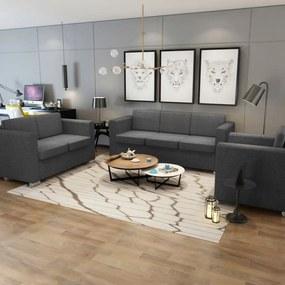 Conjunto de sofás, 3 pçs, tecido cinzento escuro