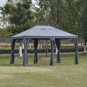 Outsunny Pérgola de jardim 4x3 m com 6 Cortinas com Zíper Abertura de teto 8 orifícios de drenagem para festas ao ar livre cinza