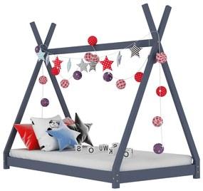 283362 vidaXL Estrutura de cama para crianças 80x160 cm pinho maciço cinza