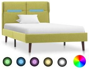 286901 vidaXL Estrutura de cama com LED tecido 90x200 cm verde