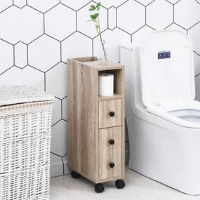 Kleankin Gabinete de banheiro independente de projeto compacto com 2 gabinetes abertos, 1 gabinete de porta, 1 gaveta e 4 rodas giratórias, 18 x 30 x 68,5 cm cor de grão de carvalho