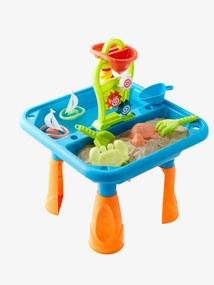Mesa de atividades para brincar ao ar livre com areia e água azul medio liso com motivo