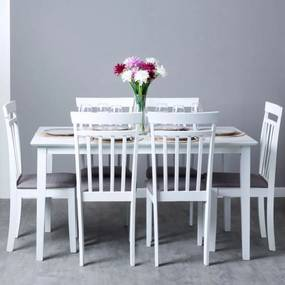 Conjunto Mesa Yuka 140 x 80 cm e Pack 6 Cadeiras Tui