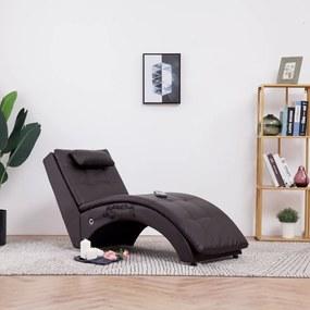281346 vidaXL Chaise longue de massagem c/ almofada couro artificial castanho