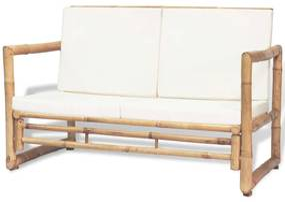 43157 vidaXL Sofá de jardim de 2 lugares com almofadões de bambu