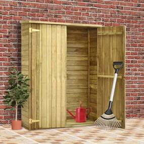 46361 vidaXL Abrigo p/ ferramentas de jardim 123x50x171 cm pinho impregnado