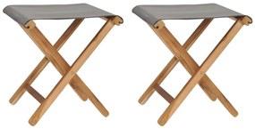 310670 vidaXL Cadeiras dobráveis 2 pcs teca maciça e tecido cinzento-escuro