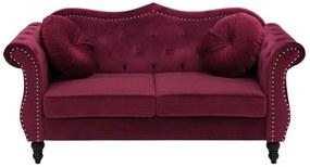 Sofá de 2 lugares em veludo vermelho escuro SKIEN