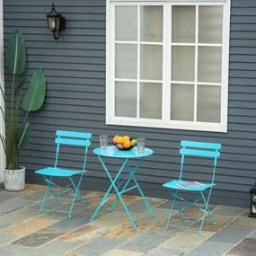 Outsunny Conjunto de móveis de jardim dobrável de 3 peças Mesa de metal e 2 cadeiras para varanda Terraço Exterior Ø60x71 cm azul