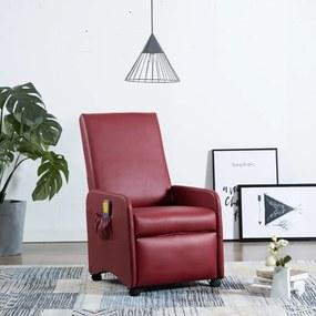 248639 vidaXL Cadeira de massagens reclinável couro artificial vermelho tinto