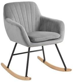 Cadeira de baloiço em veludo cinzento LIARUM