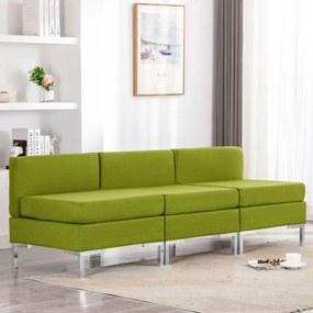 287055 vidaXL Sofás centro seccionais com almofadões 3 pcs tecido verde