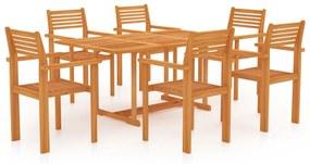 3059548 vidaXL 7 pcs conjunto de jantar p/ jardim c/ almofadões teca maciça