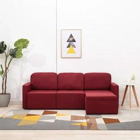 Sofá-cama modular de 3 lugares tecido vermelho tinto
