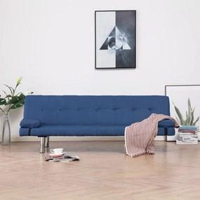 282187 vidaXL Sofá-cama com duas almofadas poliéster azul