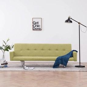 282222 vidaXL Sofá-cama com apoio de braços poliéster verde