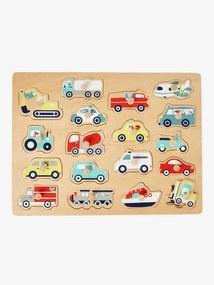 Puzzle com veículos em madeira FSC® sem cor