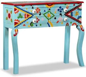 Mesa consola madeira mangueira maciça azul pintada à mão