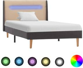 Estrutura cama com LED 100x200 cm tecido creme