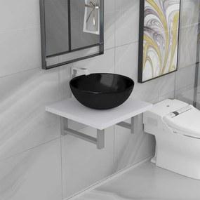 279324 vidaXL Conjunto de móveis de casa banho 2 peças cerâmica branco