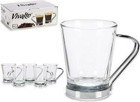 Conjunto de Chávenas de Café Cristal Metal (6 Peças)
