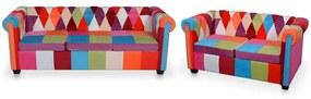 278215 vidaXL 2 pcs conjunto de sofás chesterfield em tecido