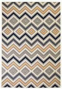 133014 vidaXL Tapete moderno com design zigzag 140x200 cm castanho/preto/azul