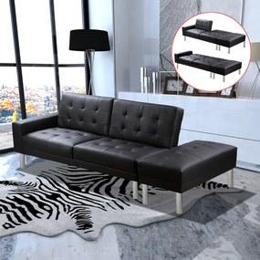 Sofá-cama em couro artificial preto