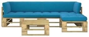 3066761 vidaXL 4 pcs conj. lounge paletes c/ almofadões pinho impregnado verde