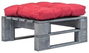 275283 vidaXL Otomano de paletes com almofadão vermelho madeira cinzento