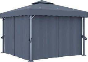 Gazebo com cortina 3x3 m alumínio antracite