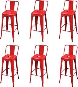 3052643 vidaXL Bancos de bar 6 pcs aço vermelho