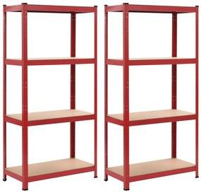144276 vidaXL Prateleiras de arrumação 2 pcs vermelho 80x40x160 cm aço e MDF