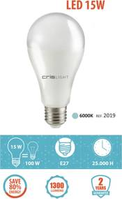 Crislight E27 LED 15W 1300LM Branco Frio
