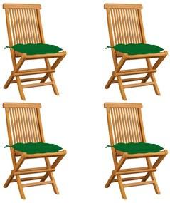 3062588 vidaXL Cadeiras de jardim c/ almofadões verdes 4 pcs teca maciça